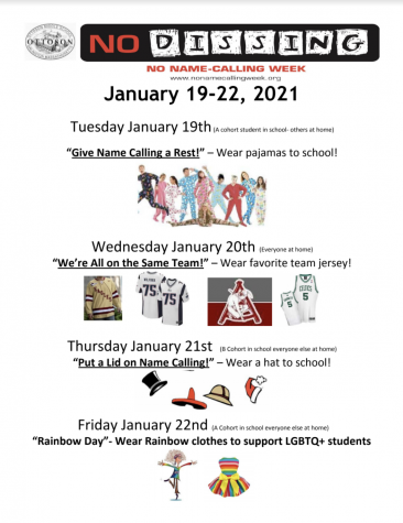 No Name Calling Week flyer advertises daily activities students can partake in to support those in the LGBTQ community and stand against bullying