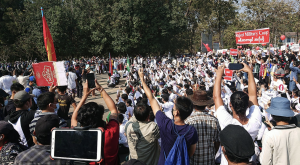 Citizens protest the Myanmar coup in February