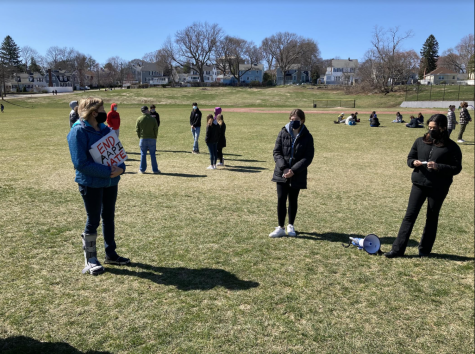 Demonstrators gathered at Robbins Farm Park in early April to discuss and protest against anti-Asian hate// Photo credit Indigo B.